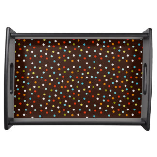 Cute Colorful Polka Dots Brown Serving Tray