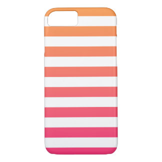 Cute Colorful Preppy Orange Pink White Stripes iPhone 7 Case
