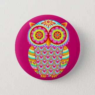 Cute Colorful Psychedelic Owl Button Pin