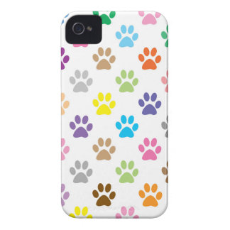Cute colorful puppy paw prints pattern iPhone 4 Case-Mate case