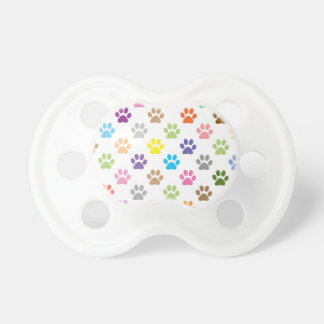 Cute colorful puppy paw prints pattern pacifier