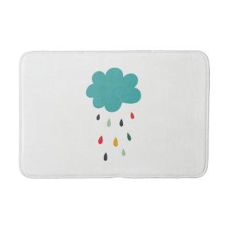 "Cute Colorful Rain Cloud ""Rain Rain"" Decorative Bath Mat"