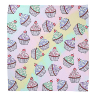 Cute Colorful Rainbow Foodie Cherry Cupcakes Bandana