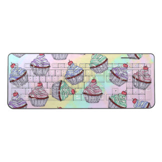 Cute Colorful Rainbow Foodie Cherry Cupcakes Wireless Keyboard