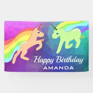 Cute Colorful Rainbow Unicorns Birthday Party Banner