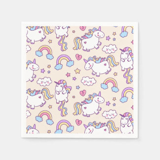 Cute & Colorful Rainbows and Unicorns | Napkin