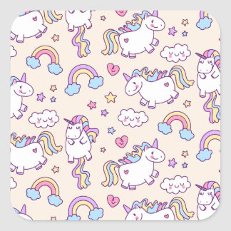 Cute & Colorful Rainbows and Unicorns Sticker Seal