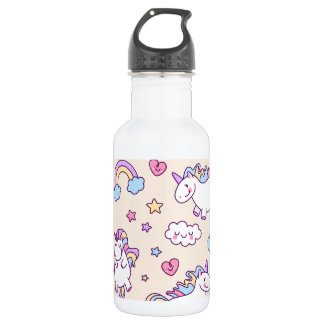 Cute & Colorful Rainbows and Unicorns Water Bottle