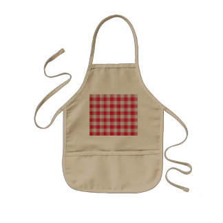 Cute Colorful Red Squares Kids Apron