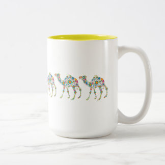 Cute Colorful Retro Flower Camels Two-Tone Coffee Mug