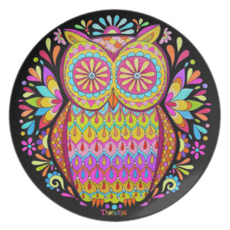 Cute Colorful Retro Owl Plate - Psychedelic!