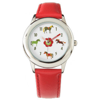 Cute Colorful Retro Ponies and Flower Horse Watch