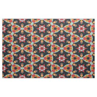 Cute Colorful Retro Vintage Nouveau Deco Pattern Fabric