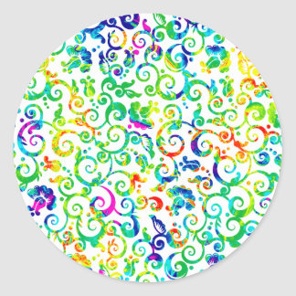 Cute colorful seamless flowers pattern classic round sticker