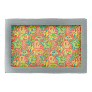 Cute colorful seamless paisley pattern belt buckle