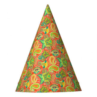 Cute colorful seamless paisley pattern party hat
