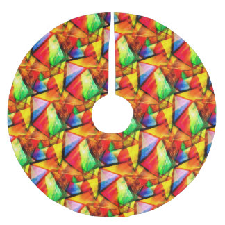 Cute colorful seamless triangles pattern brushed polyester tree skirt