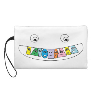 Cute Colorful Smiling Toothy Mouth Design Wristlet