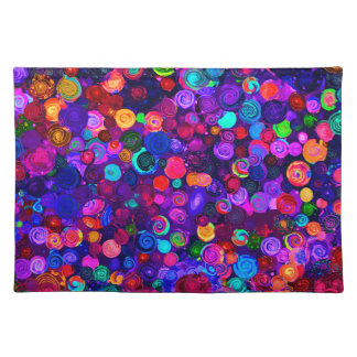Cute colorful spiral cosmos patterns placemat