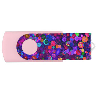 Cute colorful spiral cosmos patterns USB flash drive