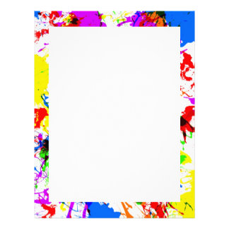 Cute colorful splatter paint design patterns letterhead