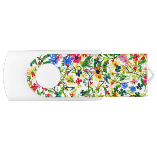 Cute colorful spring floral flowers USB flash drive