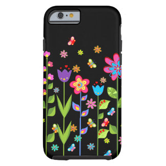 Cute Colorful Spring Flowers & Butterflies 2 Tough iPhone 6 Case