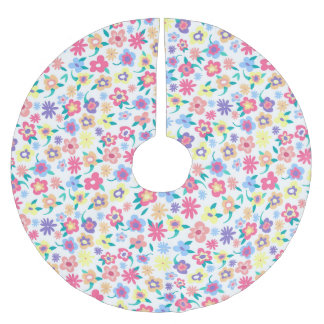 Cute  colorful spring flowers pattern brushed polyester tree skirt