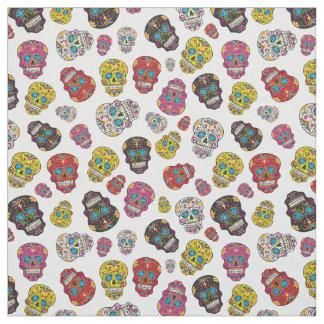 Cute Colorful Sugar Skull Day of the Dead Print Fabric
