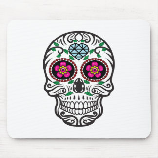 Cute Colorful Sugar Skull Dia de los Muertos Mouse Pad