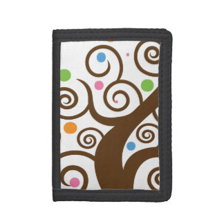 Cute Colorful Swirl Tree Trifold Wallet