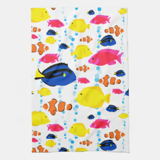 Cute Colorful Tropical Fish and Bubbles Kitchen Towel