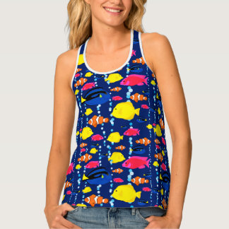 Cute Colorful Tropical Fish and Bubbles Tank Top