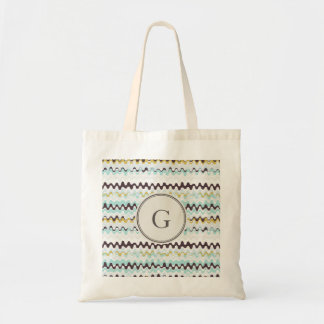Cute colorful turquoise abstract pattern monogram budget tote bag
