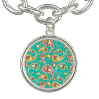 Cute colorful vintage paisley pattern charm bracelets