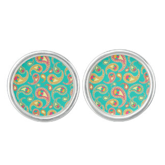 Cute colorful vintage paisley pattern cuff links