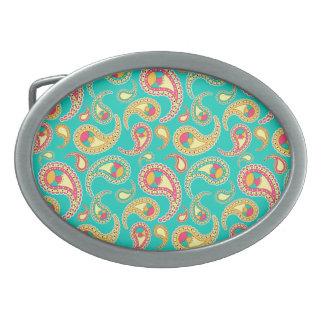Cute colorful vintage paisley pattern oval belt buckle