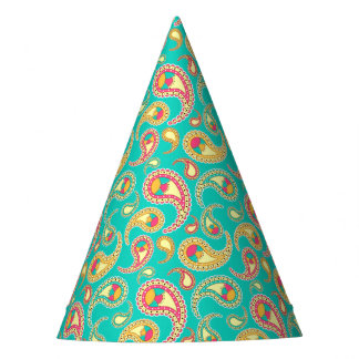 Cute colorful vintage paisley pattern party hat