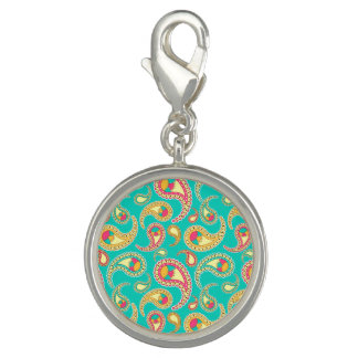 Cute colorful vintage paisley pattern photo charms