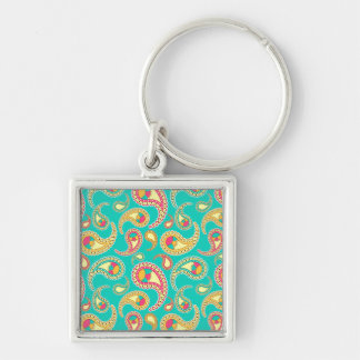 Cute colorful vintage paisley pattern Silver-Colored square keychain
