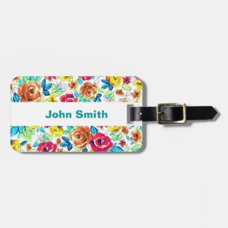 Cute colorful vintage roses patterns luggage tag