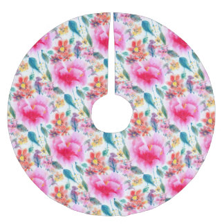 Cute colorful watercolor flowers brushed polyester tree skirt