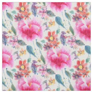 Cute colorful watercolor flowers fabric