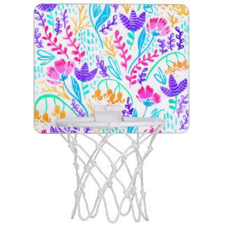 Cute colorful watercolor flowers mini basketball hoop