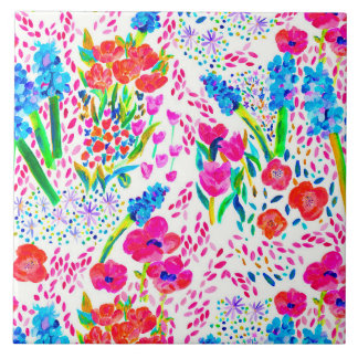 Cute colorful watercolor flowers pattern tile