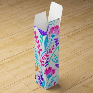 Cute colorful watercolor flowers wine bottle box