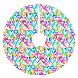Cute colorful watercolor hearts pattern brushed polyester tree skirt