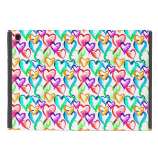 Cute colorful watercolor hearts pattern iPad mini cover