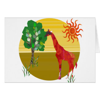 Cute Colorful Watercolor TAll Giraffe African Wild Card