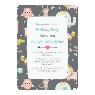 Cute Colorful Wild Animals Birthday Party Invite
